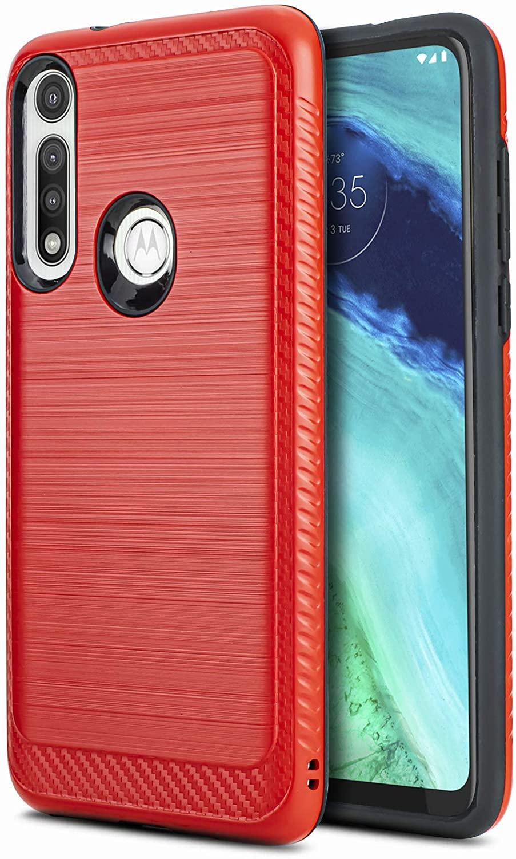 CasemartUSA Phone Case for [Motorola Moto G Fast], [Modern Series][Red] Shockproof Brushed Protective Cover for Motorola Moto G Fast (Boost Mobile, Mint, Simple, Ting, Ultra)