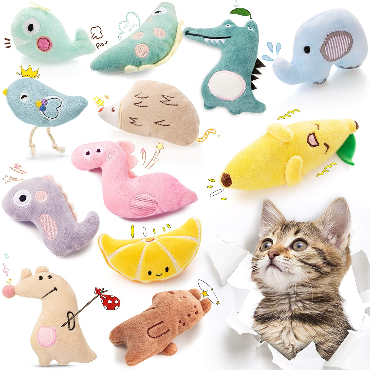 Skylety 12 Pieces Catnip Toys Cute Interactive Plush Catnip Cat Toy Cat Catnip Toys Set for Cat Kitten Indoor and Outdoor Entertaining Birthday Halloween Christmas Holiday Presents for Kitten