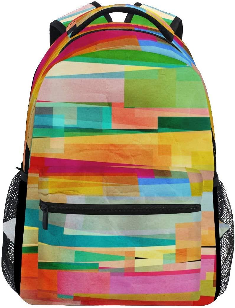 Rainbow Geometric Stripes Backpacks Travel Laptop Daypack School Bags for Teens Men Women