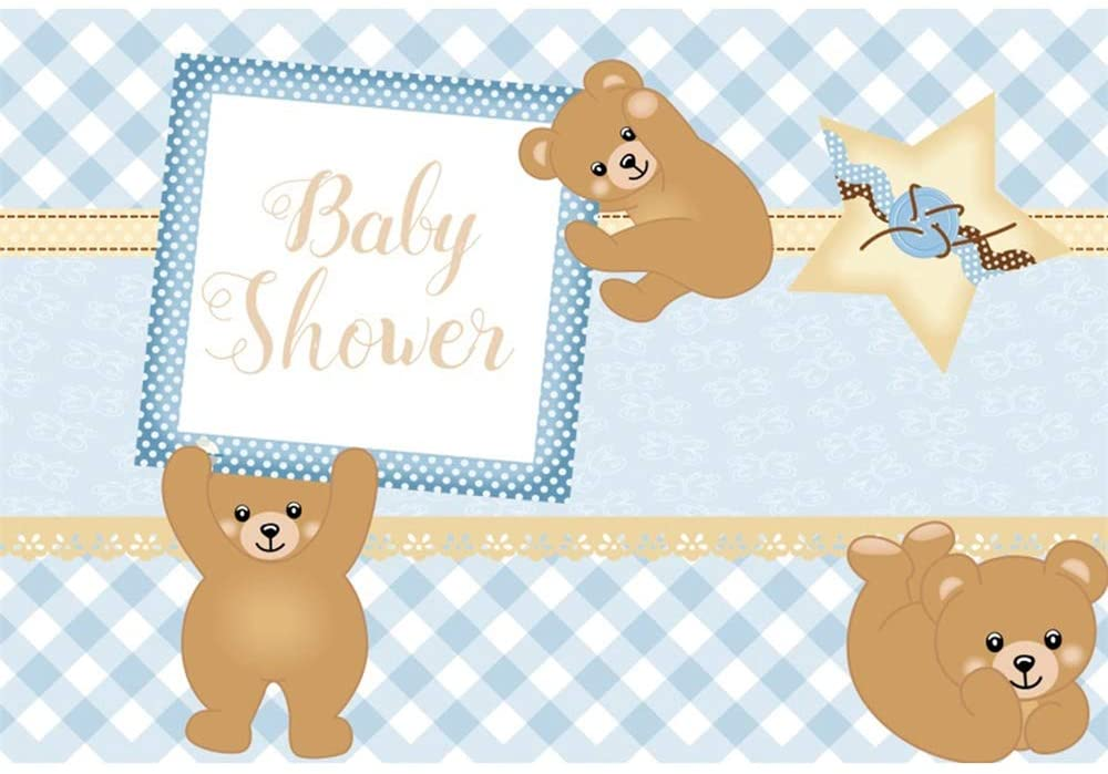 DORCEV 6x4ft It's a Boy Baby Shower Backdrop for Boys Baby Shower Gender Reveal Party Photography Background Blue and White Grid Cute Bear Toy Boys Party Banner Children Adult Photo Studio Props