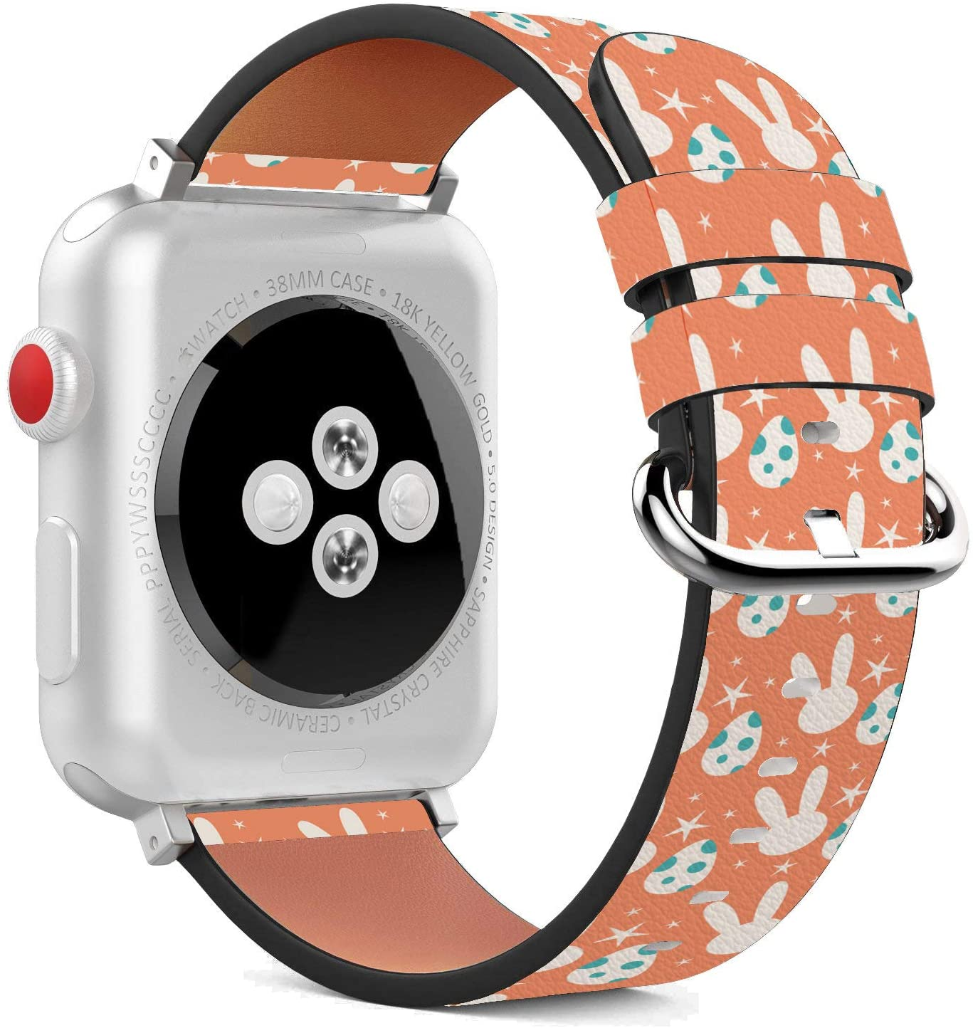 Compatible with Apple Watch - 38mm / 40mm (Serie 5,4,3,2,1) Leather Wristband Bracelet with Stainless Steel Clasp and Adapters - Rabbit Bunny Pink