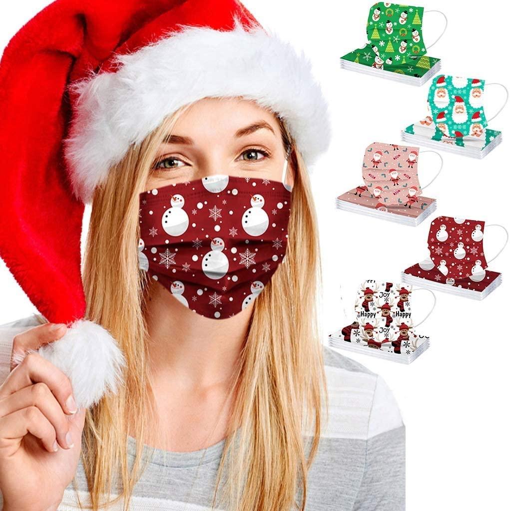 Zlolia 50 PCS Adult Disposable Face_Masks for Christmas,Xmas Multi-Style Cute Print Breathable 3Ply Earloop Face Balaclava