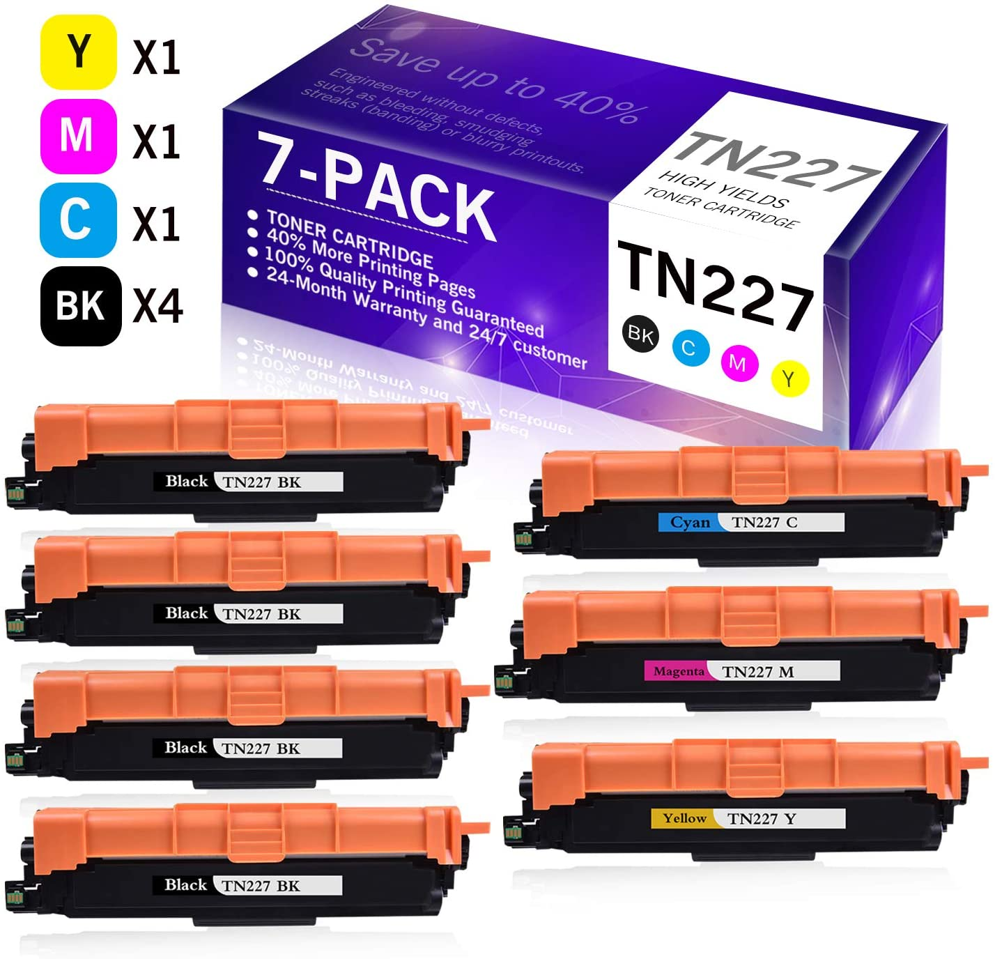 7-Pack(4BK+1C+1M+1Y) Replacement Toner Cartridge Compatible for Brother TN-227 TN227 MFC-L3770CDW MFC-L3730CDW HL-3210CW HL-3230CDW HL-3290CDW DCP-L3510CDW DCP-L3550CDW Printer