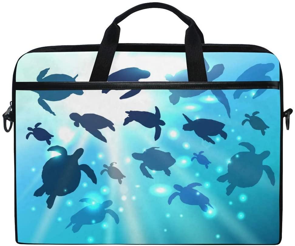 ALAZA Sea Turtle in Vivid Underwater Landscape of Tropical 15 inch Laptop Case Shoulder Bag Crossbody Briefcase for Women Men Girls Boys with Shoulder Strap Handle, Back to School Gifts