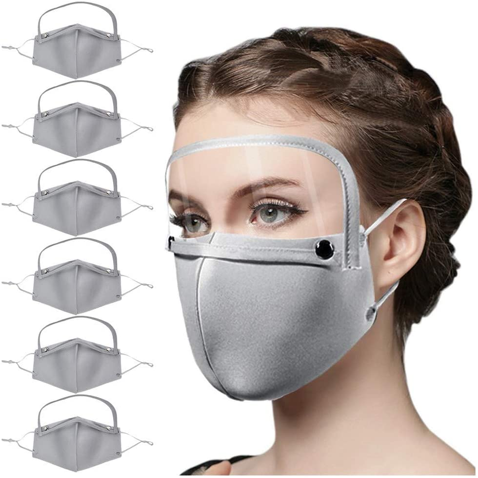 6PCS Cotton Dustproof Face Protective, Reusable Washable Face Bandanas with Breather Valve and Detachable Eyes Shield (Gray(Without valve) - 6PCS)