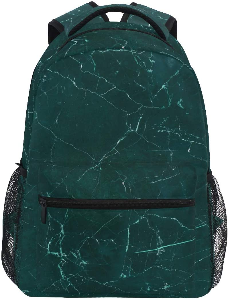 Aflyko Marble Green School Bookbag Laptop Backpack Travel Hiking Daypack 16