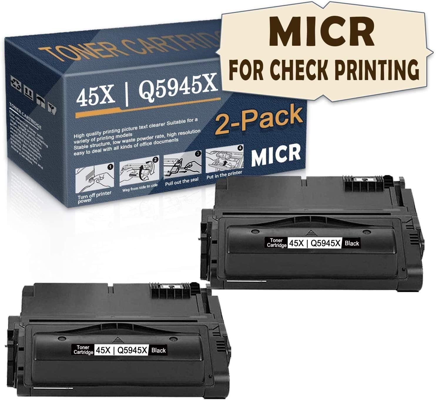 2-Pack ofBlack high Yield 45X Compatible 45X | Q5945X MICRToner Cartridge(MICR for Check Printing) Replacementfor HP Laserjet 4200TN 4250tn 4250 4200 4300tn 4200dtn 4250n 4300n Printer,bySatink.