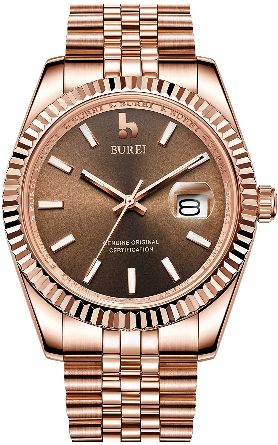 BUREI Men's Automatic Wristwatch Elegant Model Classic Design Synthetic Sapphire Glass Stainless Steel Case and Band