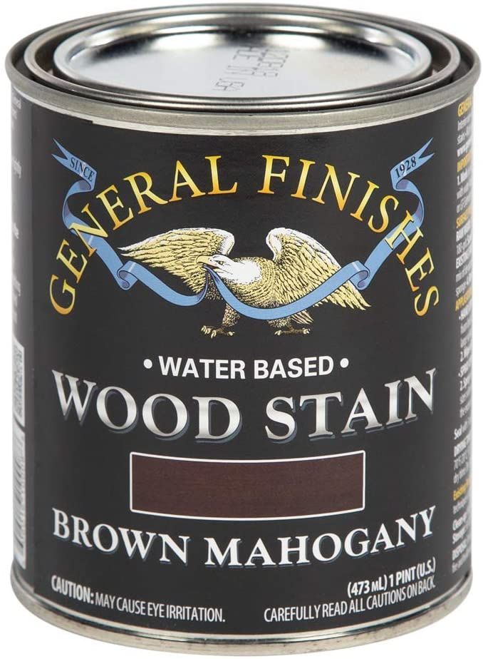 General Finishes Water Based Wood Stain, 1 Pint, Brown Mahogany