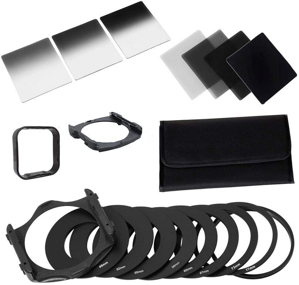 Square Filter Kit ND Filters Complete 2/4/8/16 ND Filter Kit f/Cokin P+Square Filter Holder+Adapter+Lens Hood
