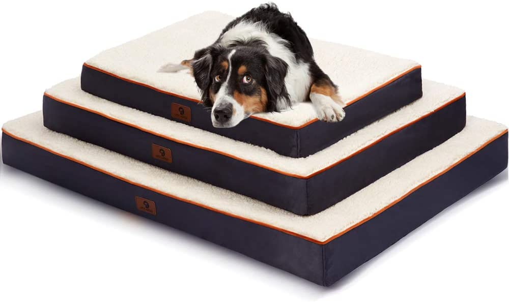 Asvin Memory Foam Orthopedic Dog Bed, for Medium,Large Dogs, 2-Layer Topper Memory Foam with Waterproof Lining, Fleece Dog Mat Cover Removable Washable Tear-Resistance, Thick Mattress Crate Bed