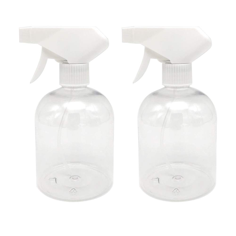 Plastic Spray Bottle 16 oz, Empty Mist Spray Bottle Trigger Sprayer for Cleaning Solutions, Hair Care, Essential Oil, Plants, Refillable Sprayer Water Squirt Bottle with Mist and Stream Mode (2 PACK)