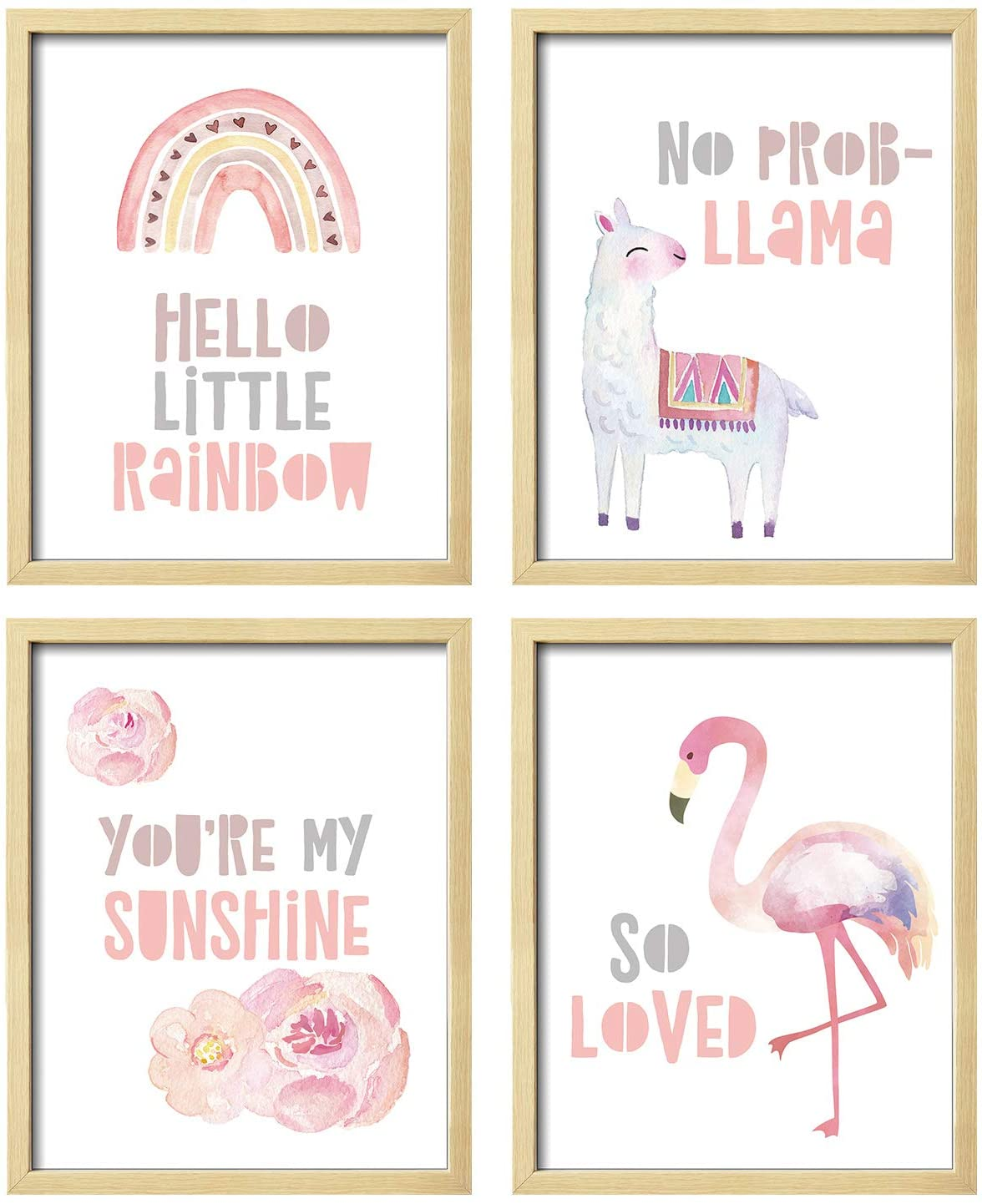 ArtbyHannah 4 Pack 8x10 Inch Unframed Rainbow Wall Art Print Artwork Poster Picture Print for Girls Bedroom or Living Room Nursery Decor or Home Decoration
