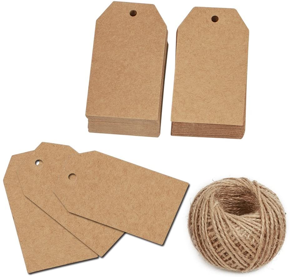 100 Pcs Christmas Gift Tags with String Kraft Paper Vintage Wedding Hang Tags 7x4cm with 100 Feet Natural Jute Twine