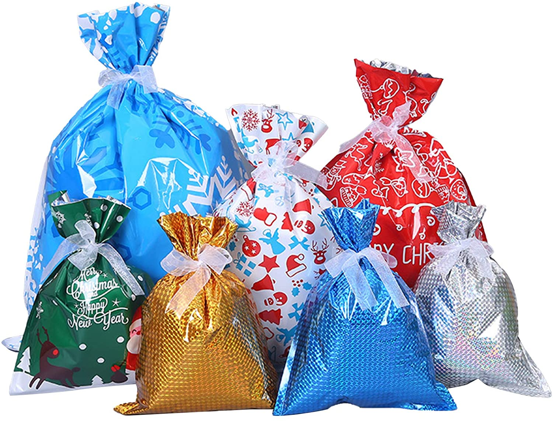 30pcs Christmas Party Bags Christmas Gift Bags Holiday Treats Bags Gift Wrapping Bags Christmas Party Favor Goody Bags for Birthday Christmas Party