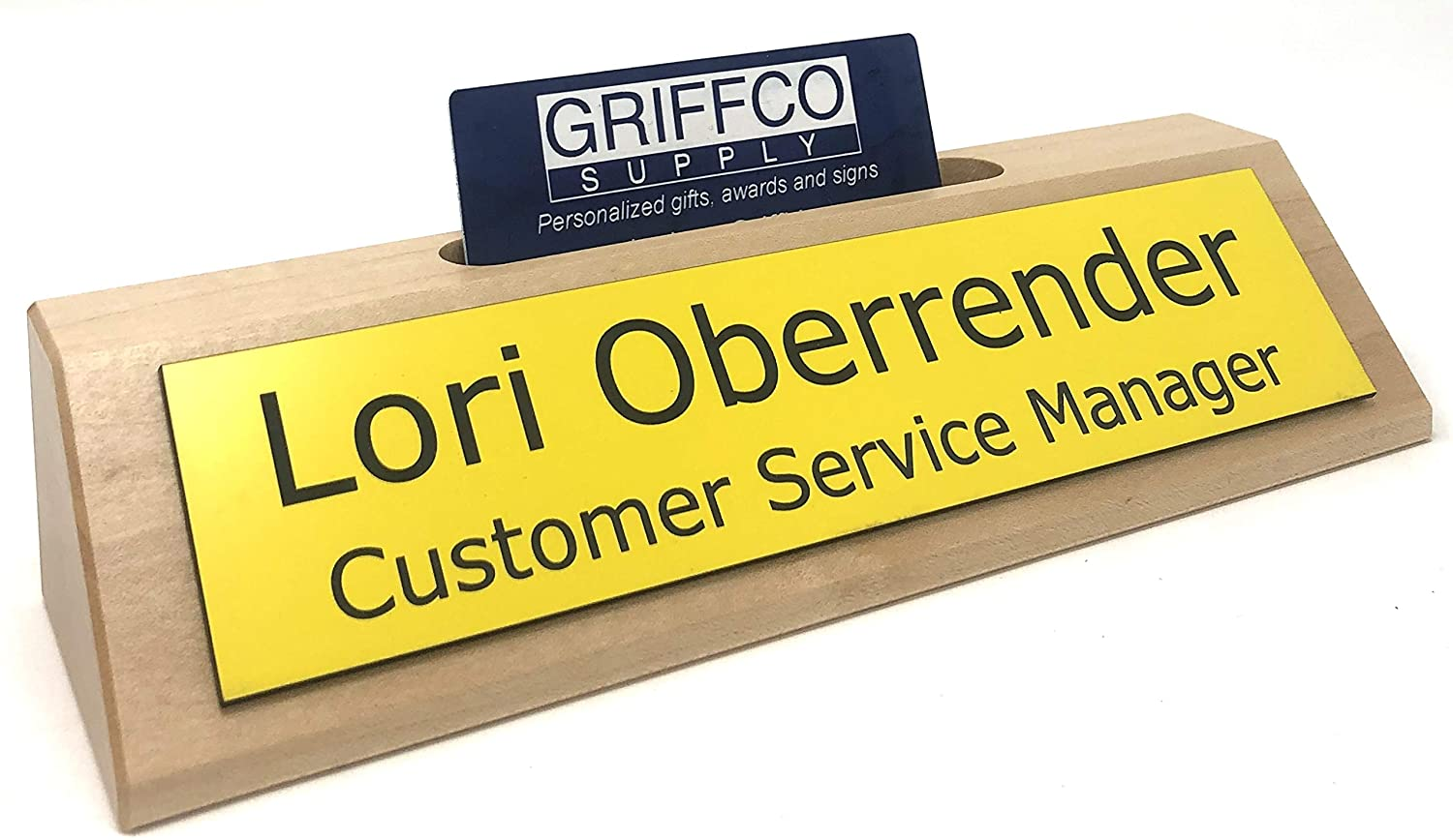 Personalized Business Desk Name Plate with Card Holder - Made in America (Maple w/Yellow)