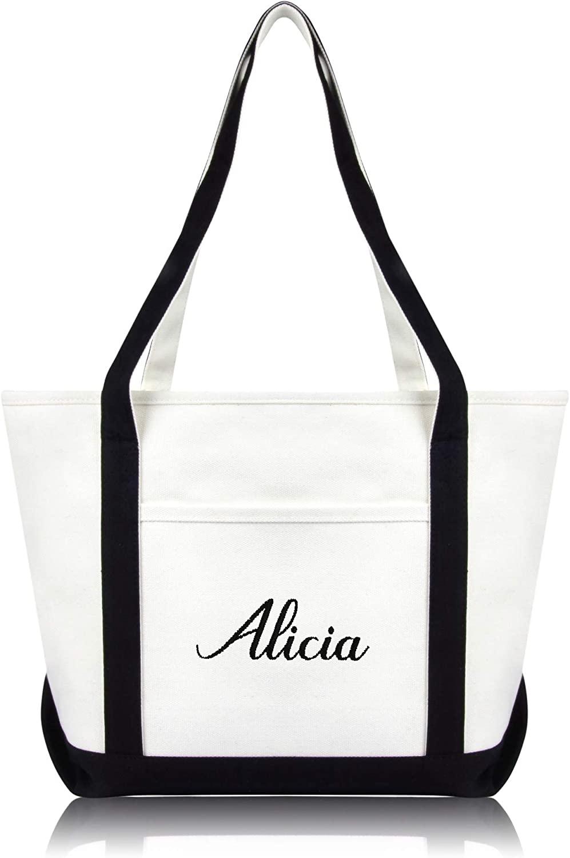 DALIX Womens Custom Names Monogrammed Premium Embroidered Tote Bag