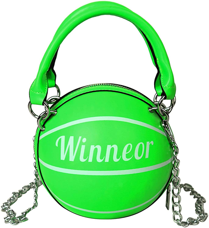 WOG2008 Women Basketball Purse Fashion Handbag Messenger Bag Purse Tote Mini Shoulder PU Round Summer Handbag Girls Men
