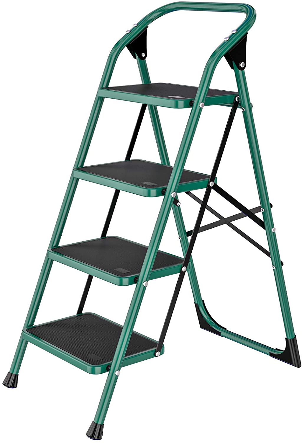 SUNCOO 4 Step Ladder, Folding Step Stool w/Non-Slip Rubber Feet, 330lbs Load Sturdy Steel Foldable Ladders, Lightweight Portable Stairs, Multi-use Ladder Stand for Household and Office