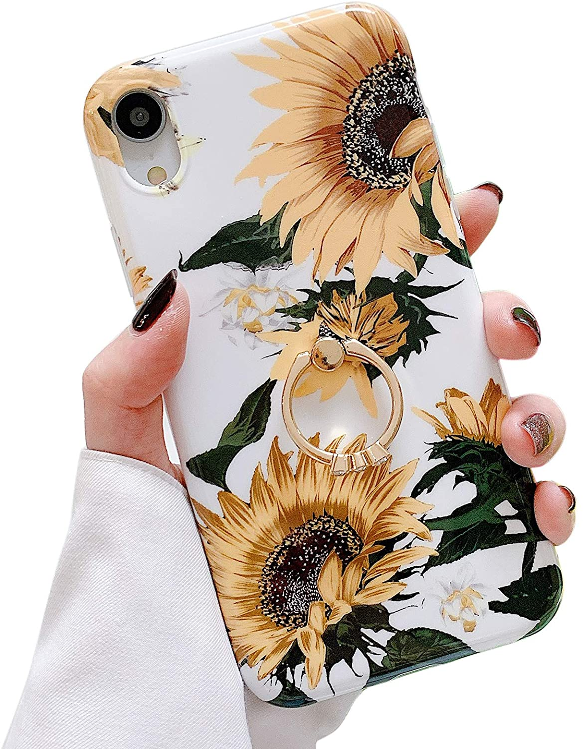 Qokey Compatible with iPhone XR Case,Flower Case Cute Fashion for Men Women Girls with 360 Degree Rotating Ring Kickstand Soft TPU Shockproof Cover Designed for iPhone XR 6.1 Inch Yellow Sunflower