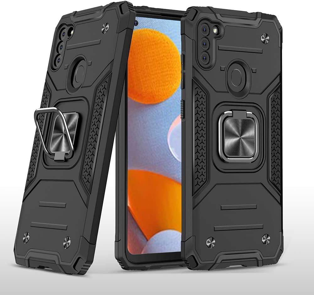 Samsung Galaxy A11 case,Heavy Duty Shockproof Armor Magnetic Car Metal Ring Kickstand Phone Case Cover for Samsung Galaxy A11 Phone (Black)