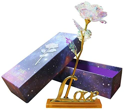 Colorful Rose Long-stemmed Artificial Flower with Exquisite Box Pack for| Mom's Gift |Valentine's Day| Thanksgiving| Mother's Day| Girl's Birthday| Best Gifts for Girlfriend Wife (Colorful)