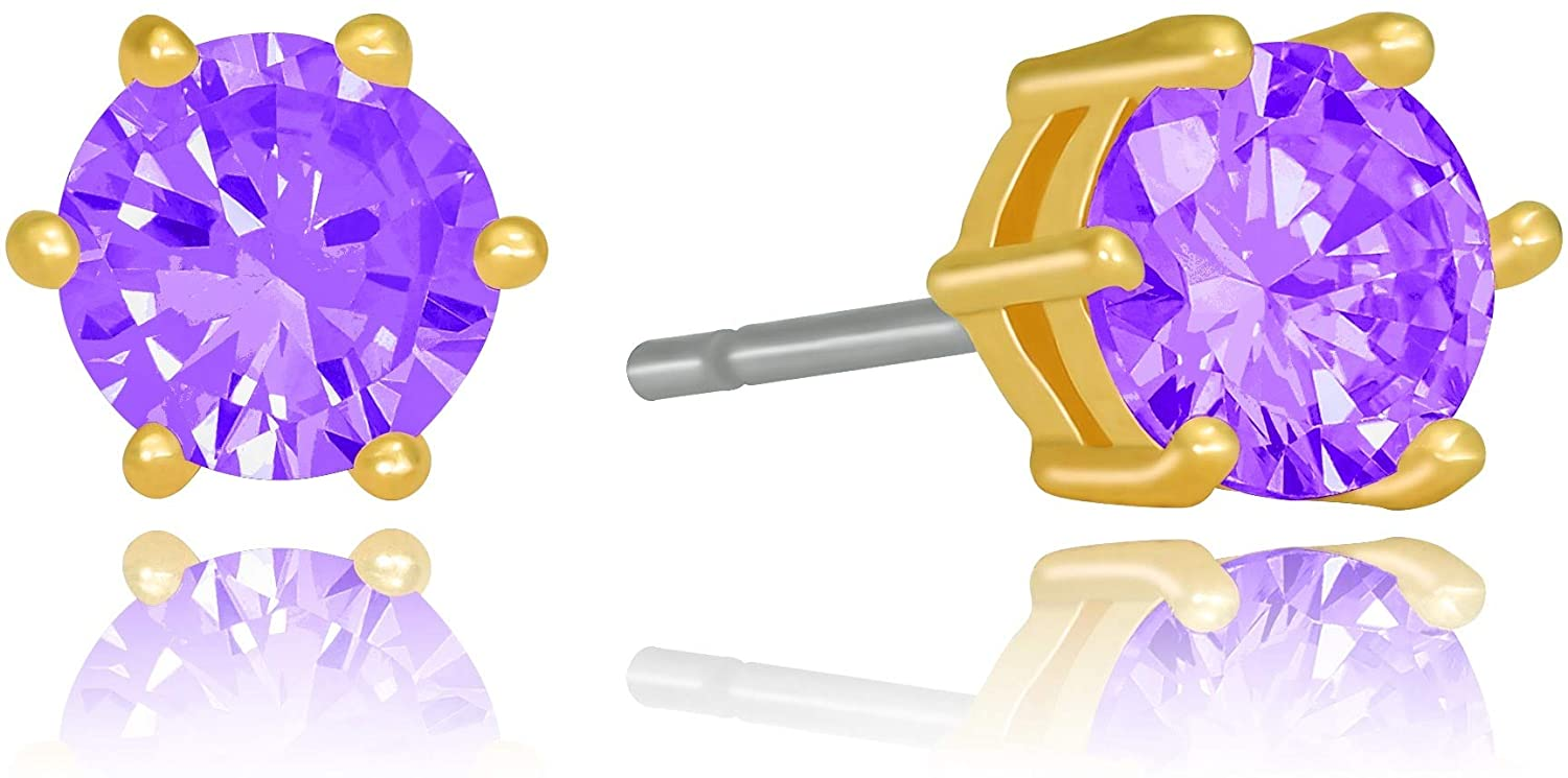 LIFETIME JEWELRY Cubic Zirconia Circle Birthstone Stud Earrings 24k Gold Plated