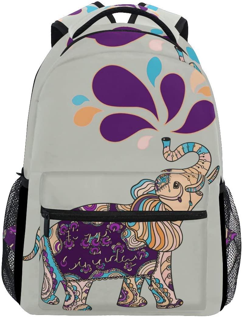 ALAZA Cute Elephant With Ethnic Boho Panttern Stylish Large Backpack Personalized Laptop iPad Tablet Travel School Bag with Multiple Pockets