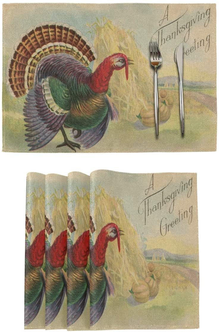 vvfelixl Thanksgiving Day and Turkey Hand Writing Greeting Set of 4 Placemats 18