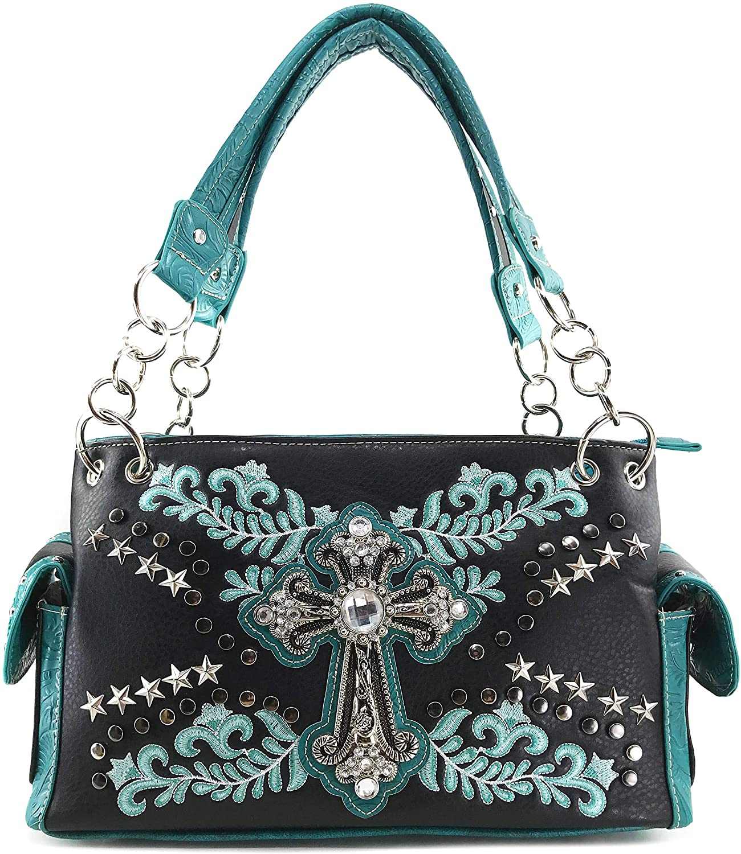 Zelris Western Cross Star Floral Women Conceal Carry Shoulder Handbag