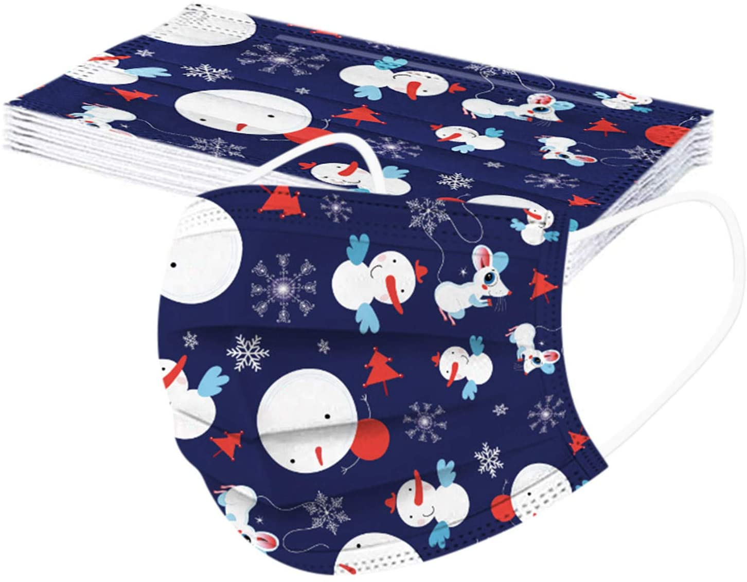 10PC Christmas Theme Disposable Face_Masks for Adult, 3 Ply Non-Woven Christmas Printed Pattern Cover for Christmas Party Atmosphere School Outdoor(C)
