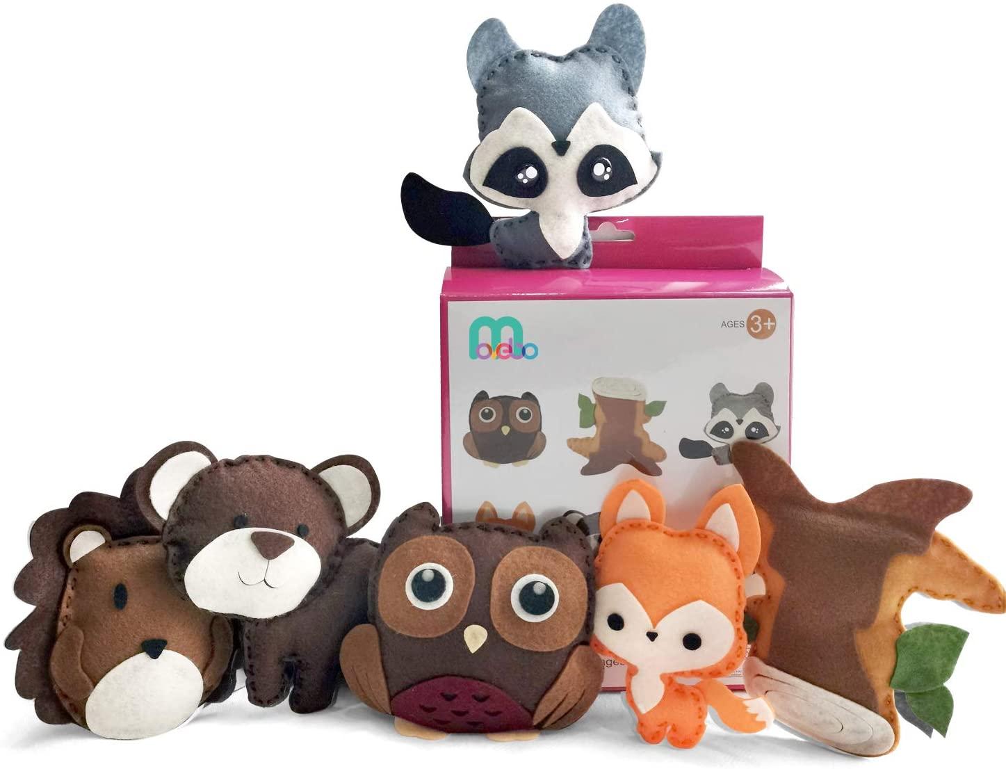 Felt DIY Sewing Crafts (Forest Animal DIY Set),Stitch & Sew Your Dinosaur Stuffed - DIY Crafts Set for Kids