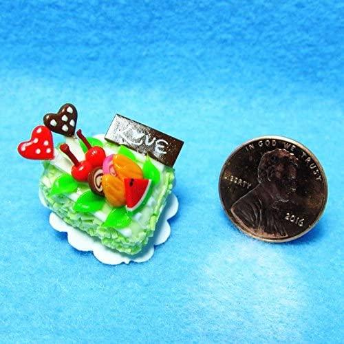 Dollhouse Miniature Love Heart Cake Green with Fruit - My Mini Fairy Garden Dollhouse Accessories for Outdoor or House Decor