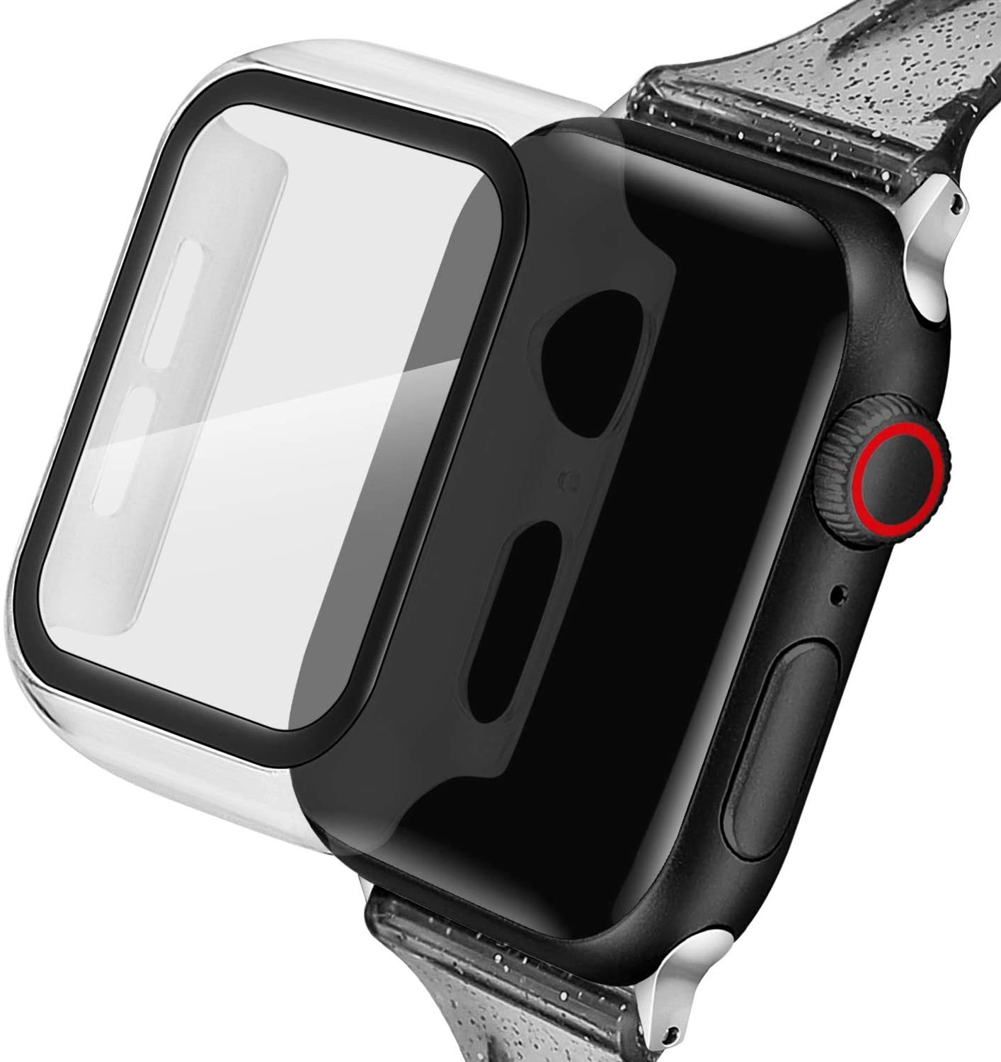 Blingbrione Clear Case with Screen Protector Compatible for Apple Watch Case 38mm,Hard PC Resin Ultra-Thin iPhone Watch Full Bumper Cover,HD Clear Apple Watch Shield Protector Series 3 2 1 -Clear
