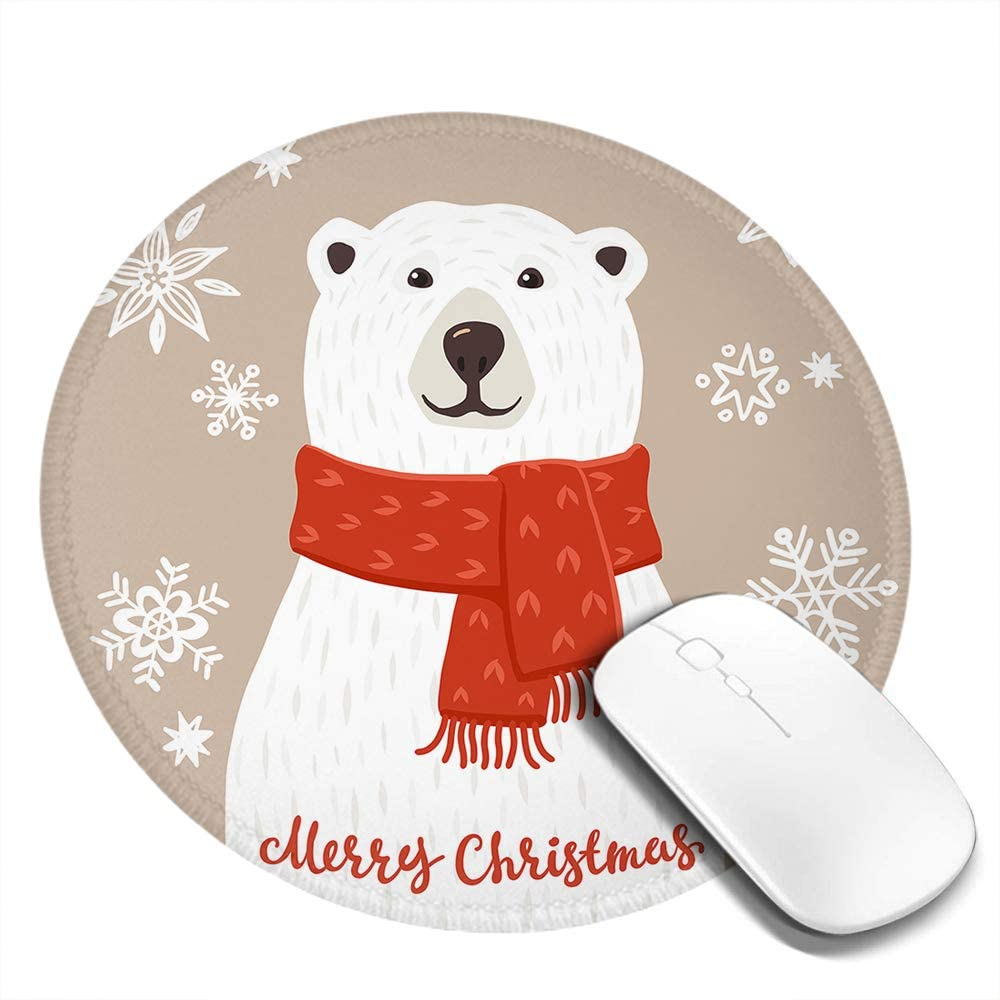 Wozukia Polar Bear Round Mouse Pads in Red Scarf with Merry Christmas Inscription Snowflakes Decor Brown Non-Slip Rubber Base Mousepad with Stitched Edge Waterproof Office Mouse Mat