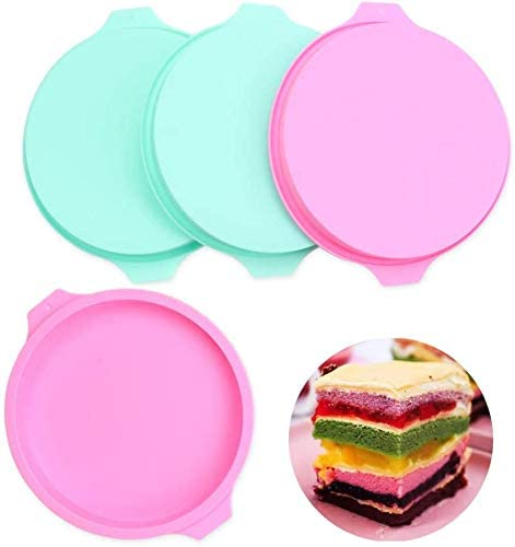 4PCS Layer Cake Mold, Round Silicone Cake Molds, 8 inch Rainbow Cake Pans Pizza Pastry Baking Pan Silicone Bakeware Set of 4