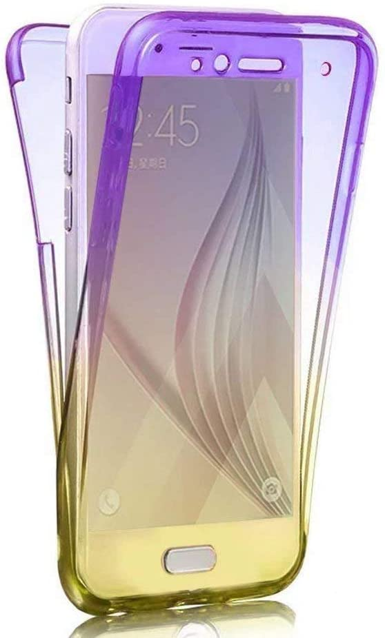 PHEZEN Galaxy S9 Plus Case,[Full Body 360 Coverage] Ultra Slim Shockproof Front Back Full Protective Soft Clear TPU Silicone Rubber Case Cover for Samsung Galaxy S9 Plus, Gradient Purple Yellow