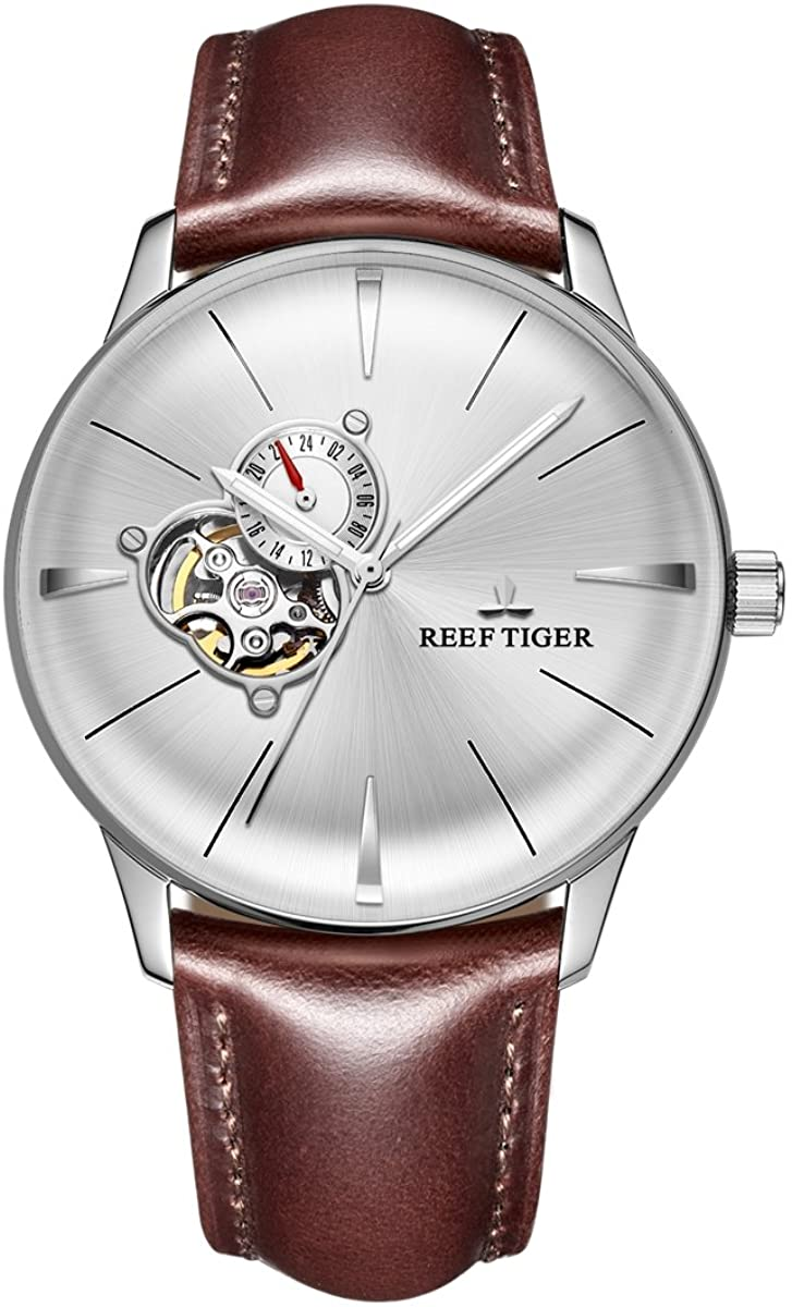 Reef Tiger Mens Casual Watches Convex Lens Tourbillon Watch Leather Strap Steel Watches RGA8239