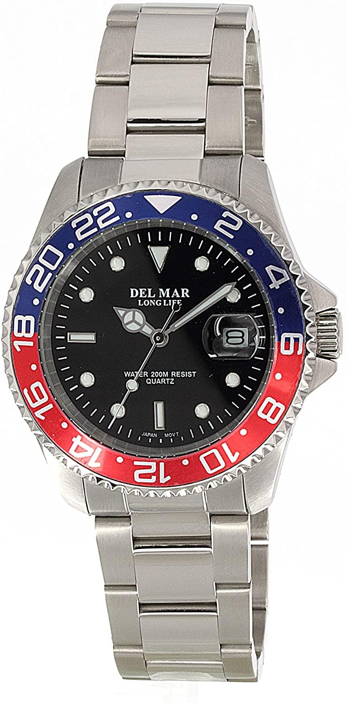 Del Mar 50494 Mens 200 Meter Sport Watch Classic Stainless Steel Blue Dial
