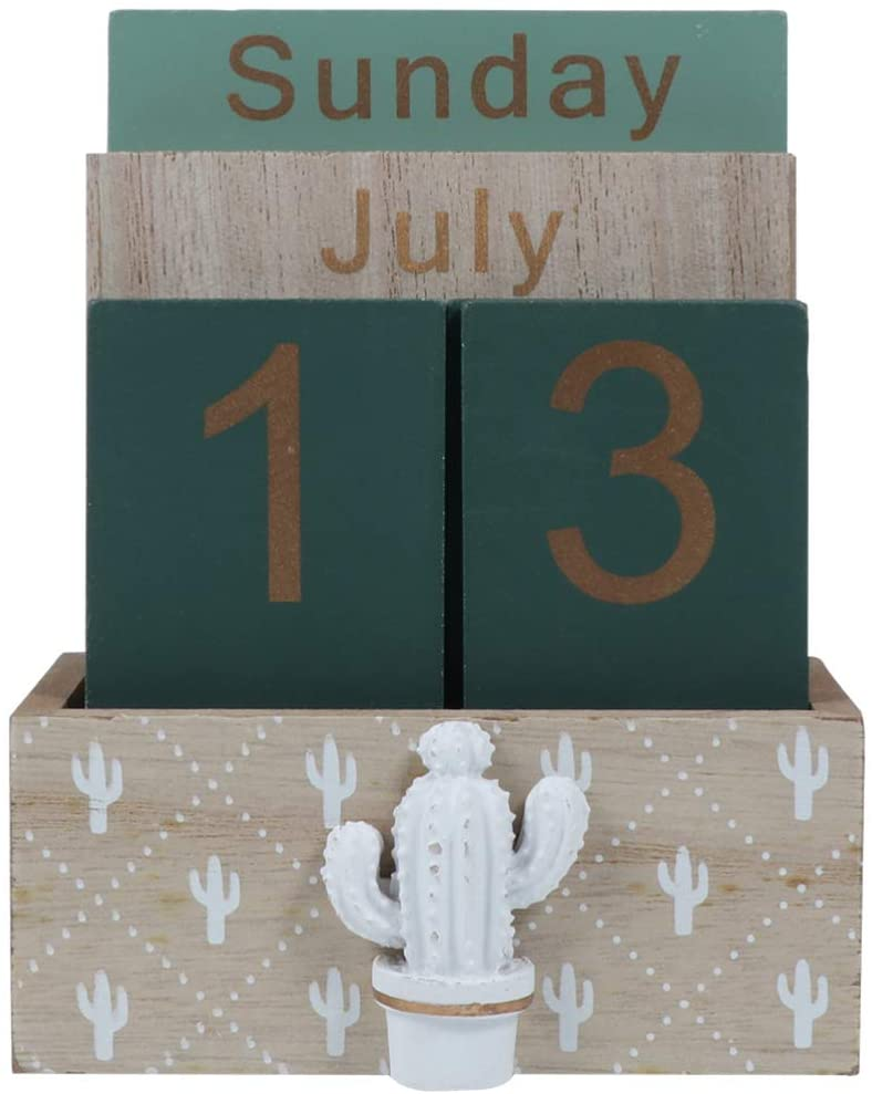 Healifty Wooden Calendar Desktop Block Perpetual Calendar Rustic Wooden Cubes Calendar Month Date Display Home Office Decoration Green