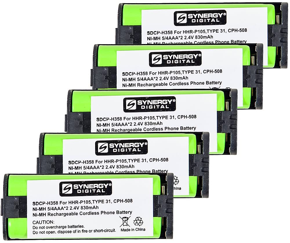 Synergy Digital Cordless Phone Batteries, Works with Panasonic KX-TG5766S Cordless Phone, (Ni-MH, 2.4V, 830 mAh), Combo-Pack Includes: 5 x SDCP-H358 Batteries