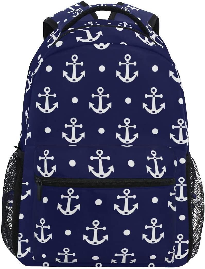 ALAZA Anchor And Polka Dot Navy Blue Large Backpack Personalized Laptop iPad Tablet Travel School Bag with Multiple Pockets