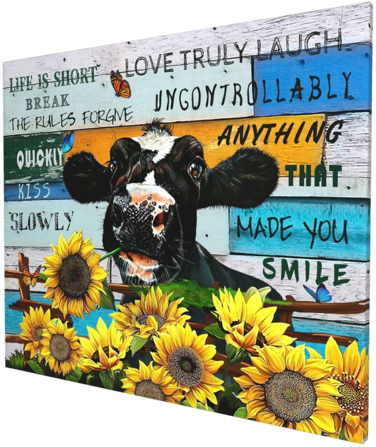 Rustic Cow Wall Decor - Cow Board Themed Farmhouse Artwork For Walls Dectors Giclee Printed For Bedroom Bathroom Framed Ready To Hang 20x24 Inch