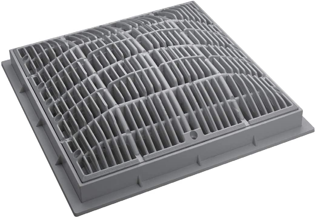 Waterway 640-4727 V 12-Inch x 12-Inch Grate and Frame Gray Color