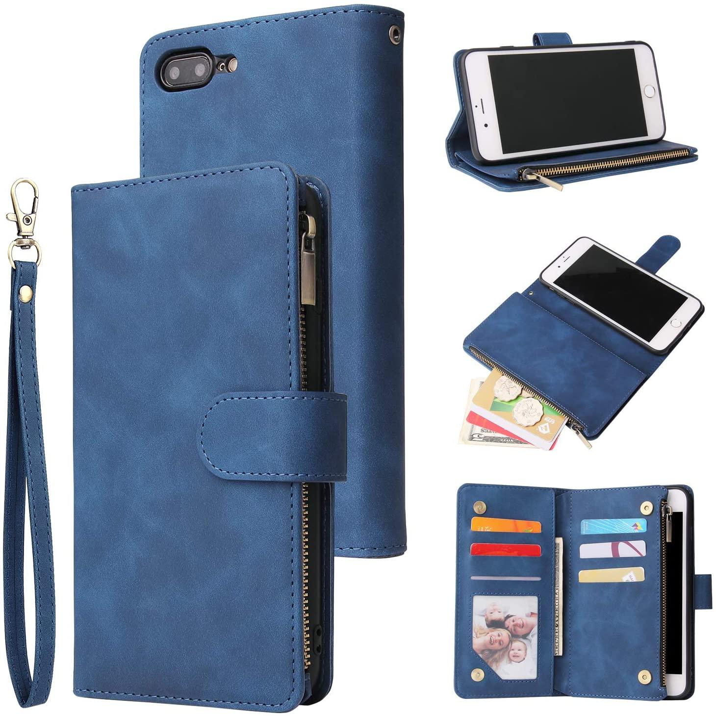UEEBAI Wallet Case for iPhone SE 2020 iPhone 7 iPhone 8, Premium Vintage PU Leather Magnetic Closure Handbag Zipper Pocket Case Kickstand Card Holder Slots with Wrist Strap TPU Shockproof Flip - Blue