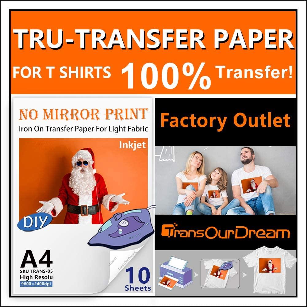 TransOurDreamTru-TransferPaper EasyToUse. Inkjet NO Mirror (10Pcs8.3x11.7