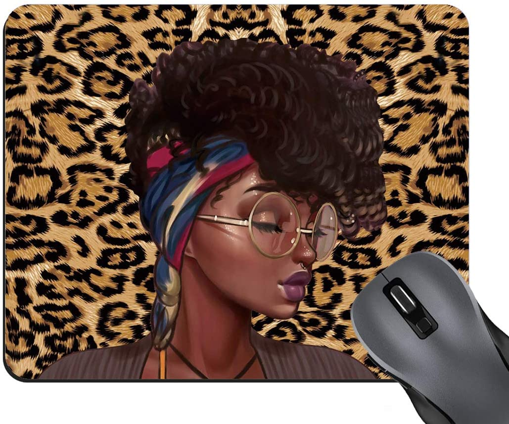 BWOOLL Leopard Print Gaming Mouse Pad, African American Girls Design Mouse Pad, Non-Slip Rubber Base Mouse Pads for Laptop and Computer, Cute Design Desk Accessories
