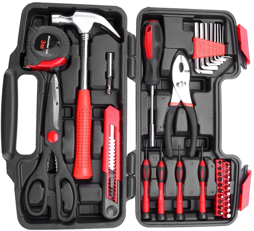 Greensen Home Tool Kit, 38 Piece Household Tool Set with Plastic Toolbox Storage Case for Home Garage Office, Black