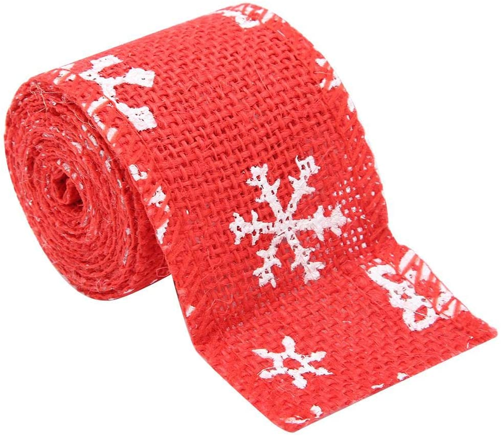 Focket Christmas Burlap Ribbon, Christmas Wrapping Ribbon, Christmas Decoration Ribbon for Christmas Parties for Gifts(5cm red Snowflake)