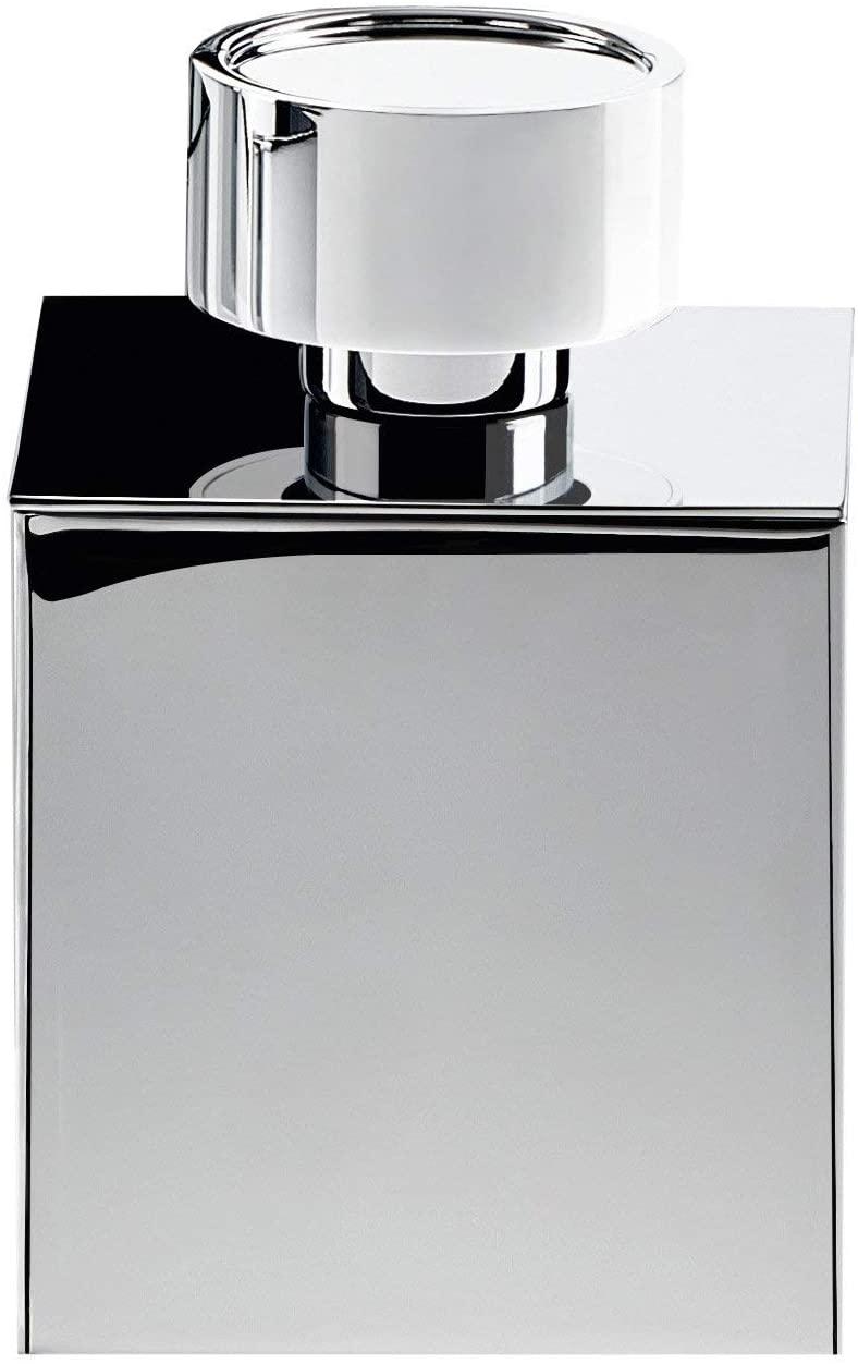 DWBA Square Cotton Ball Swab Holder, Q Tip Holder Jar for Bath, Brass (Polished Chrome)